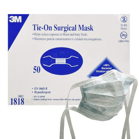 3M Health Care Surgical Mask, Tie-On, Blue