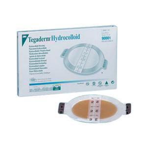 """3M Tegaderm Hydrocolloid Dressing with Outer Clear Adhesive 5-1/8"""" x 6"""" Oval"""
