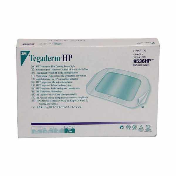 "3M Tegaderm HP Transparent Film Dressing with Label, 4"" x 4-3/4"""