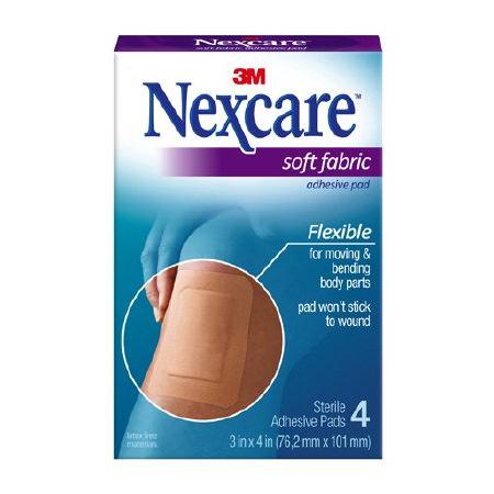 "3M Nexcare Soft Fabric Adhesive Gauze Pad 4"" x 3"""