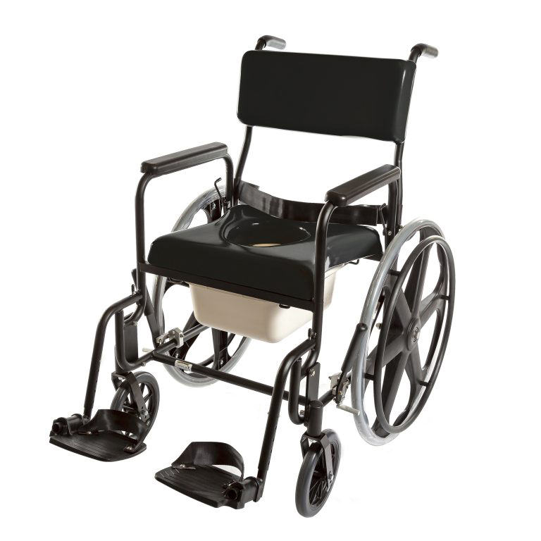 """ActiveAid 480 Adult Stainless Steel Shower Commode Chair With 20"""" Rear Wheels"""