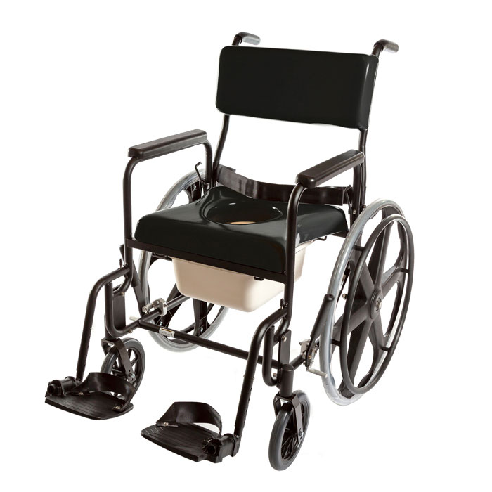 """ActiveAid 480 Adult Stainless Steel Shower Commode Chair With 24"""" Rear Wheels"""