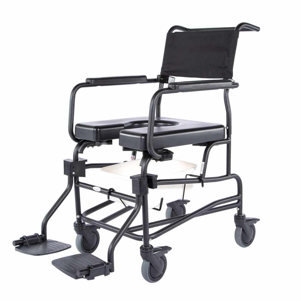 """ActiveAid JTG 624 rigid shower commode chair with 24"""" rear wheels"""