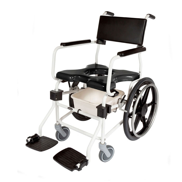 """ActiveAid JTG 620 rigid shower commode chair with 20"""" rear wheels"""
