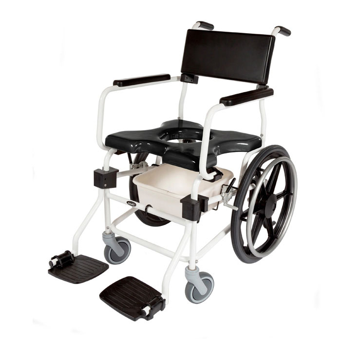 "ActiveAid JTG F620 Folding Shower Commode Chair With 20"" Rear Wheels"