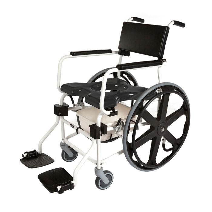 """ActiveAid JTG F624 folding shower commode chair with 24"""" rear wheels"""
