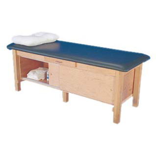 Armedica maple tretament table with drawer and adjustable shelf