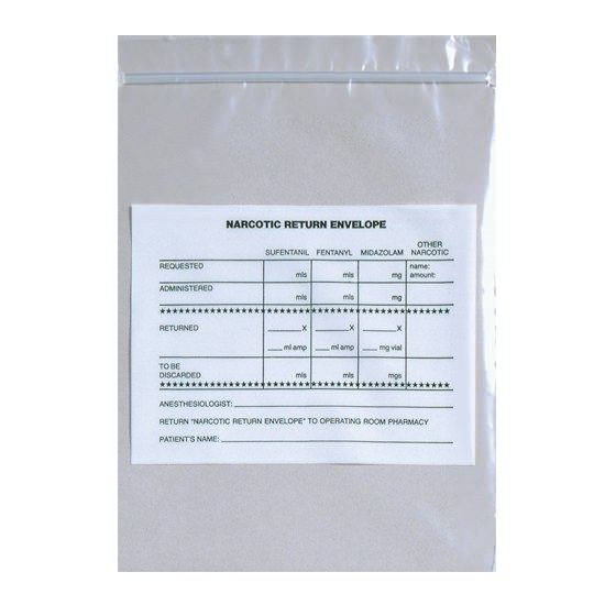 "Action Health Narcotic Return Bags, 6.5"" W x 8"" H, Printed"