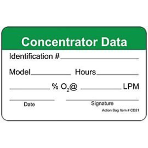 """Action Health Concentrator Data Label, 2.5"""" W x 1.5"""" H"""