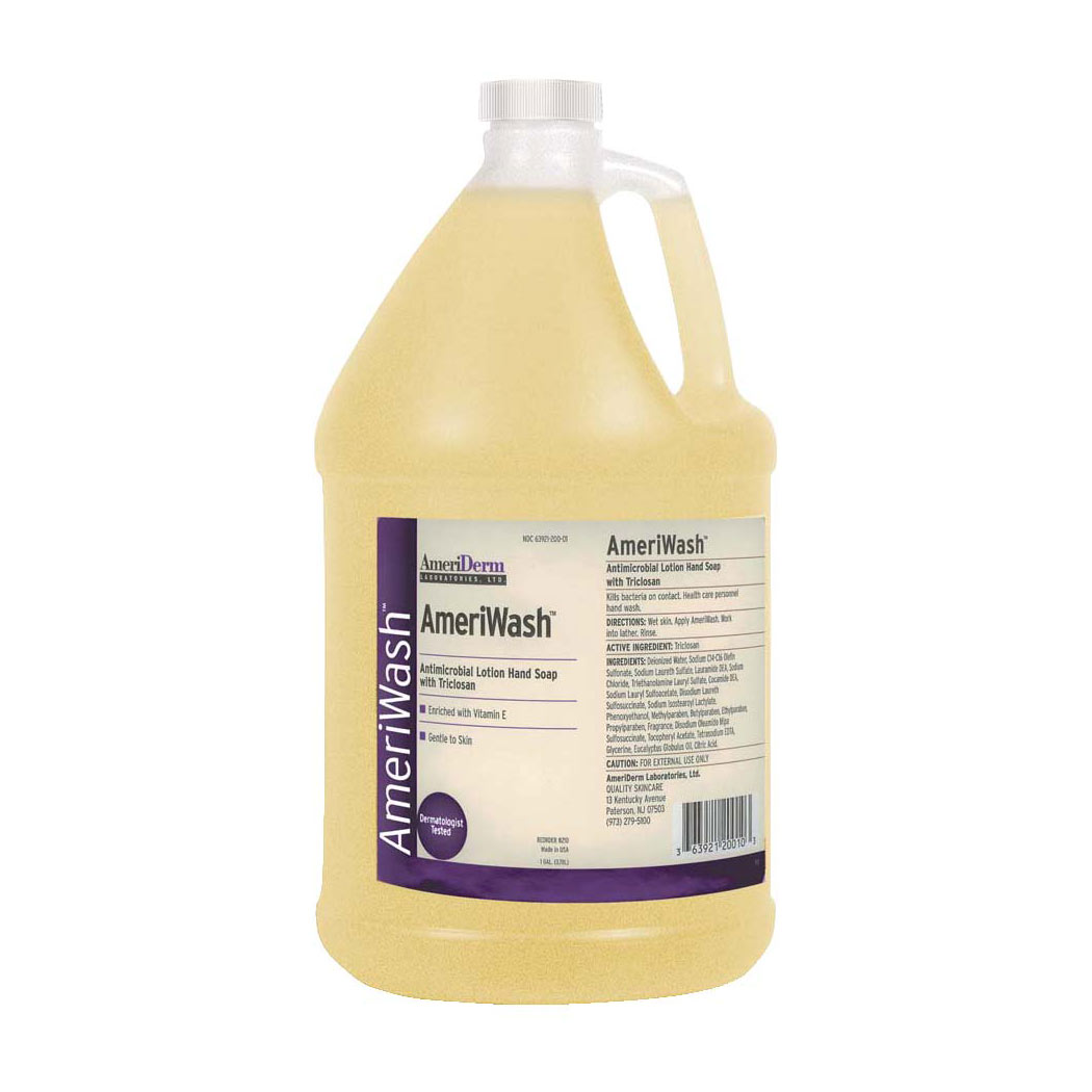 Ameriderm AmeriWash Antimicrobial Lotion Soap with Triclosan, 1 Gallon