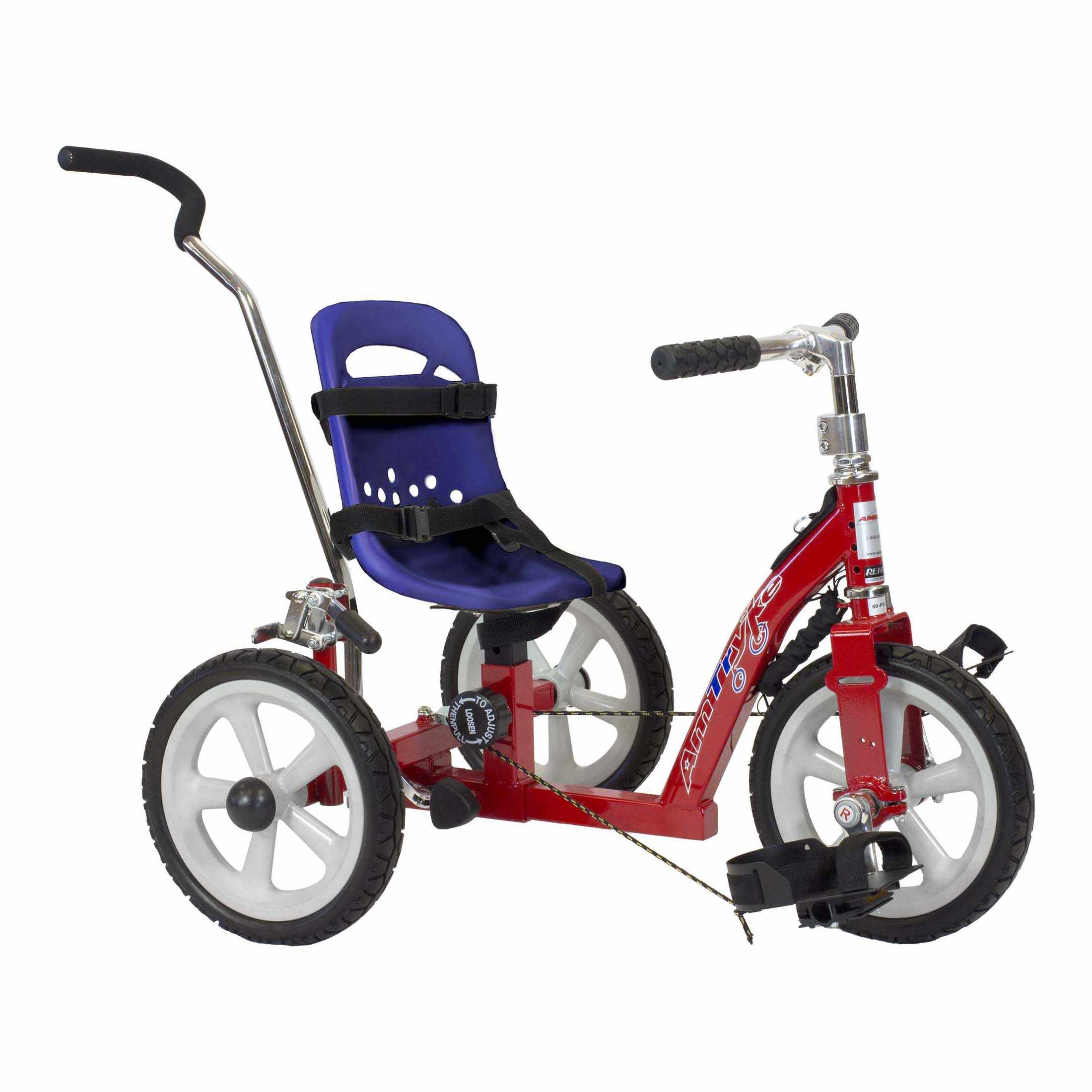 Amtryke 1410 early intervention tricycle with blue bucket seat