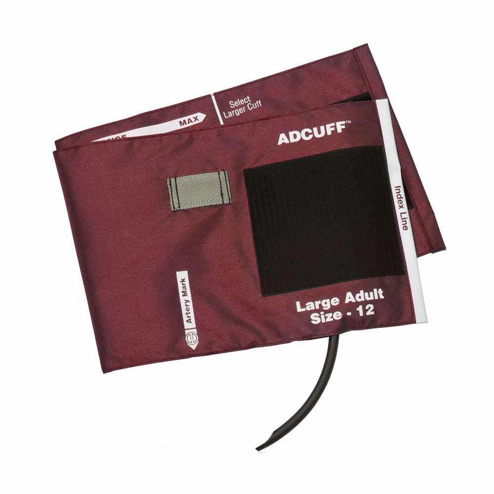 ADC Adcuff Blood Pressure Cuff Adult Arm, Size 12, Nylon Cuff, Burgundy