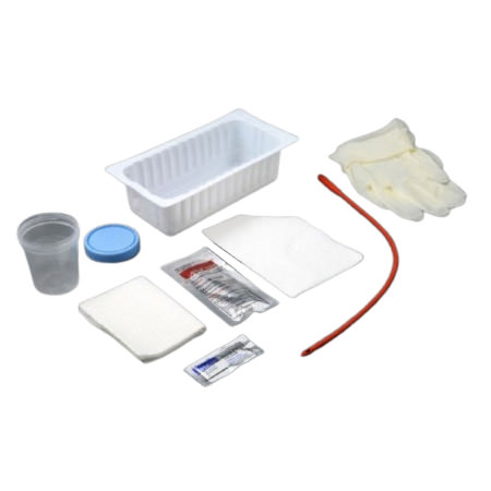 Amsure Intermittent Catheter Tray with Red Rubber Catheter