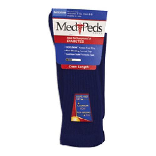 MediPeds Diabetic Crew Socks, Unisex, Navy, Medium