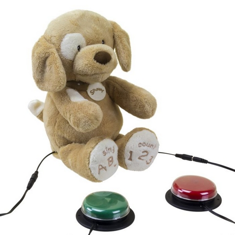 Ablenet Switch Adapted Spunky The Dog shown with switch