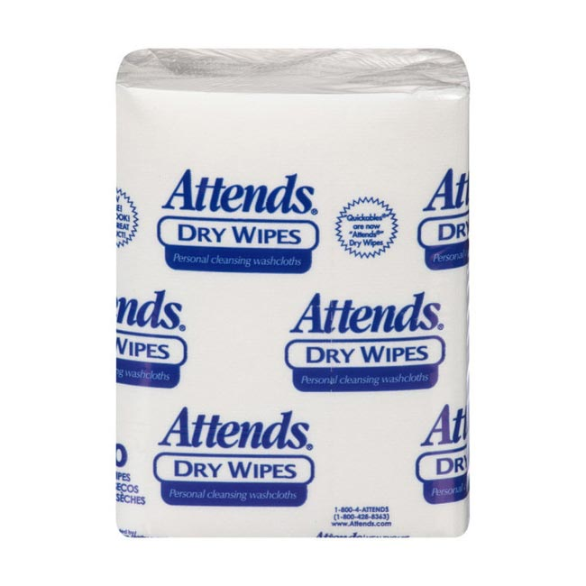 "Attends Dry Wipes, 10"" x 13"", Medium-Weight"