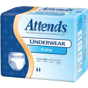 """Attends Extra Absorbency Protective Underwear, Medium, 34"""" to 44"""""""