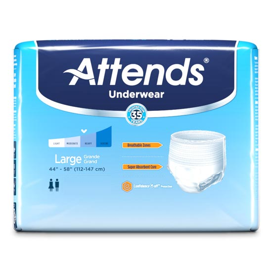 """Attends Extra Absorbency Protective Underwear, Large, 44"""" to 58"""""""