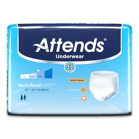 """Attends Super Plus Absorbency Protective Underwear, Youth/Small, 20"""" to 34"""""""