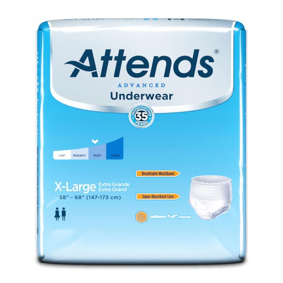 """Attends Super Plus Absorbency Protective Underwear, XL, 58"""" to 68"""""""
