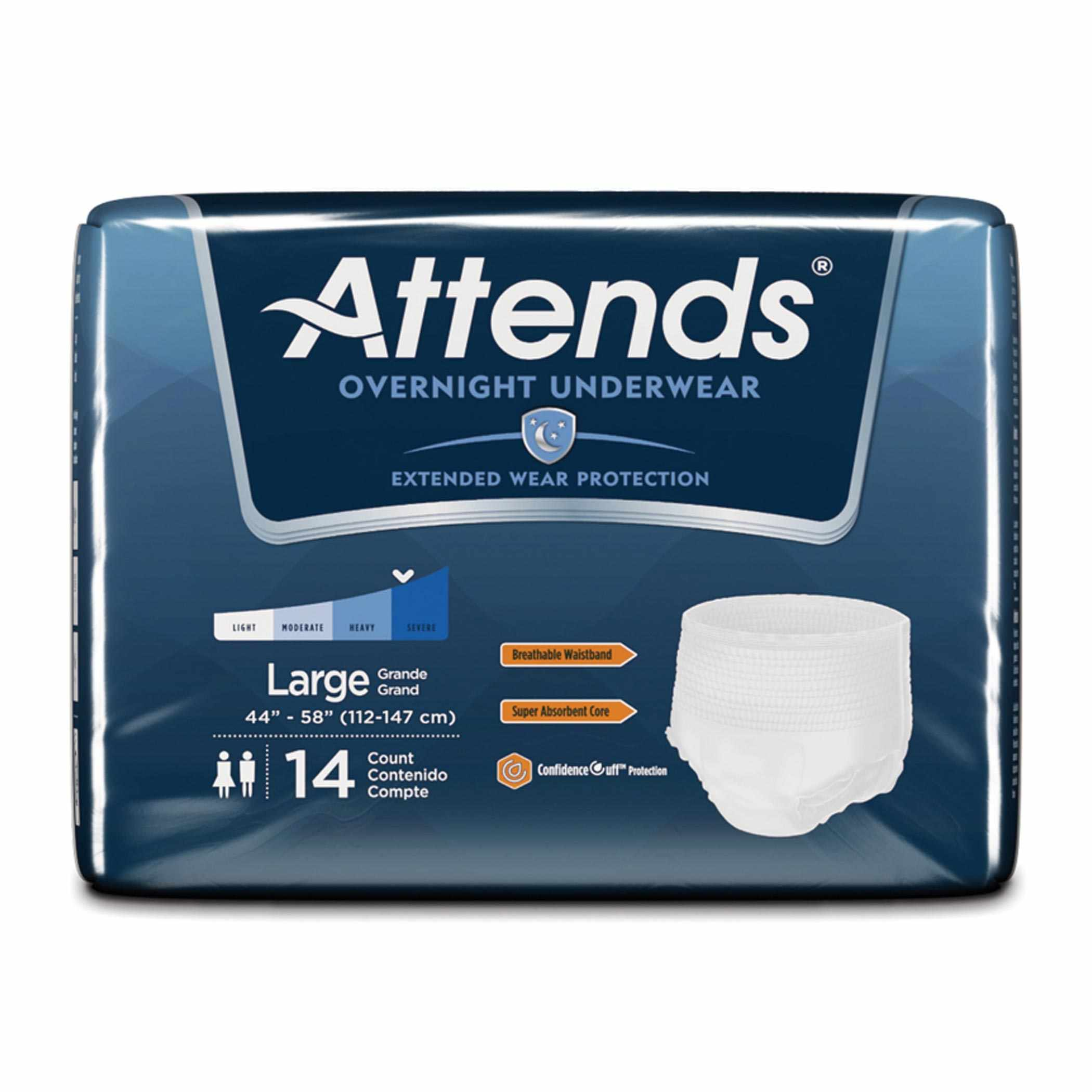 """Attends Overnight Protective Underwear with Leakage Barriers, Large, 44"""" to 58"""""""