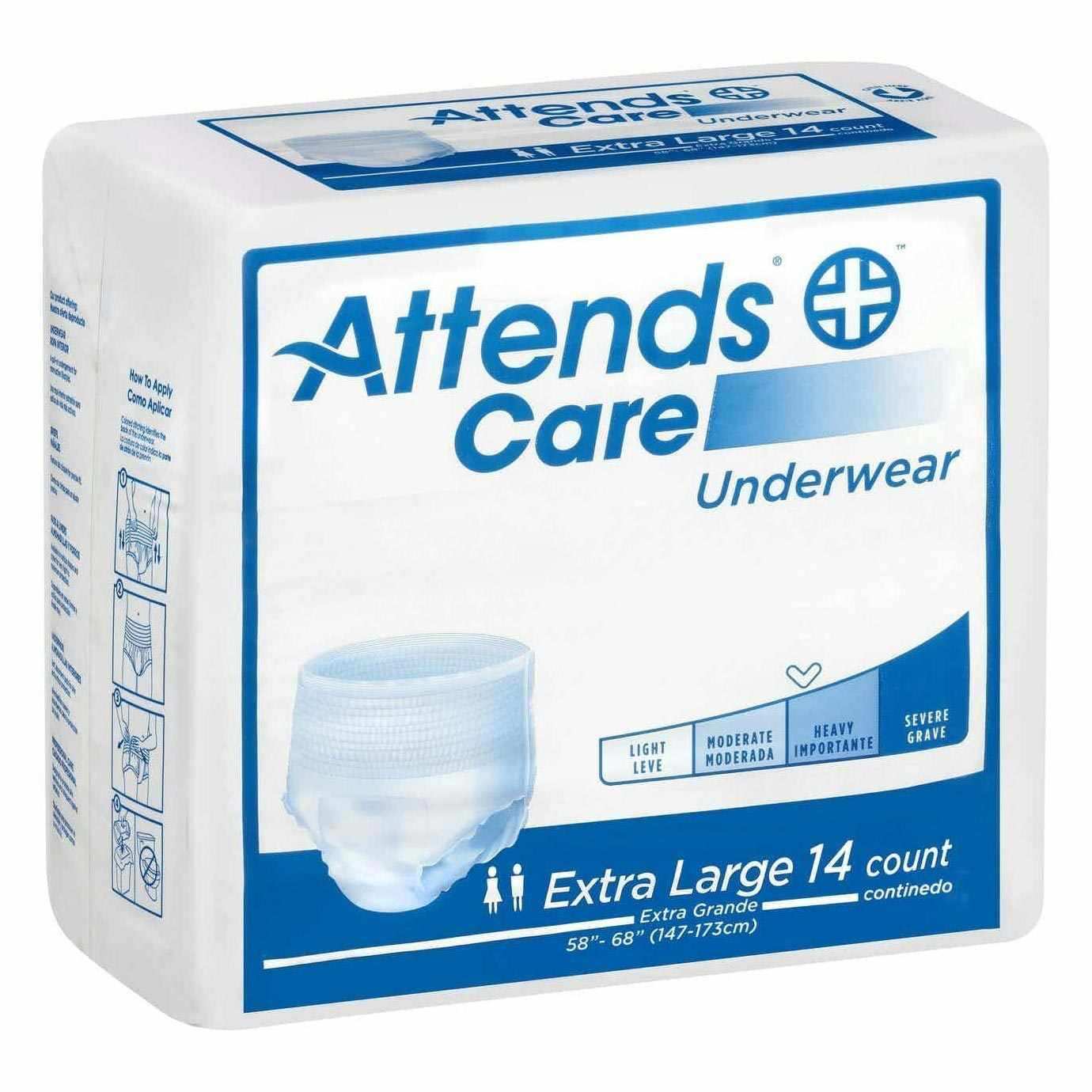 """Attends Regular Absorbency Protective Underwear, XL, 58"""" to 68"""""""