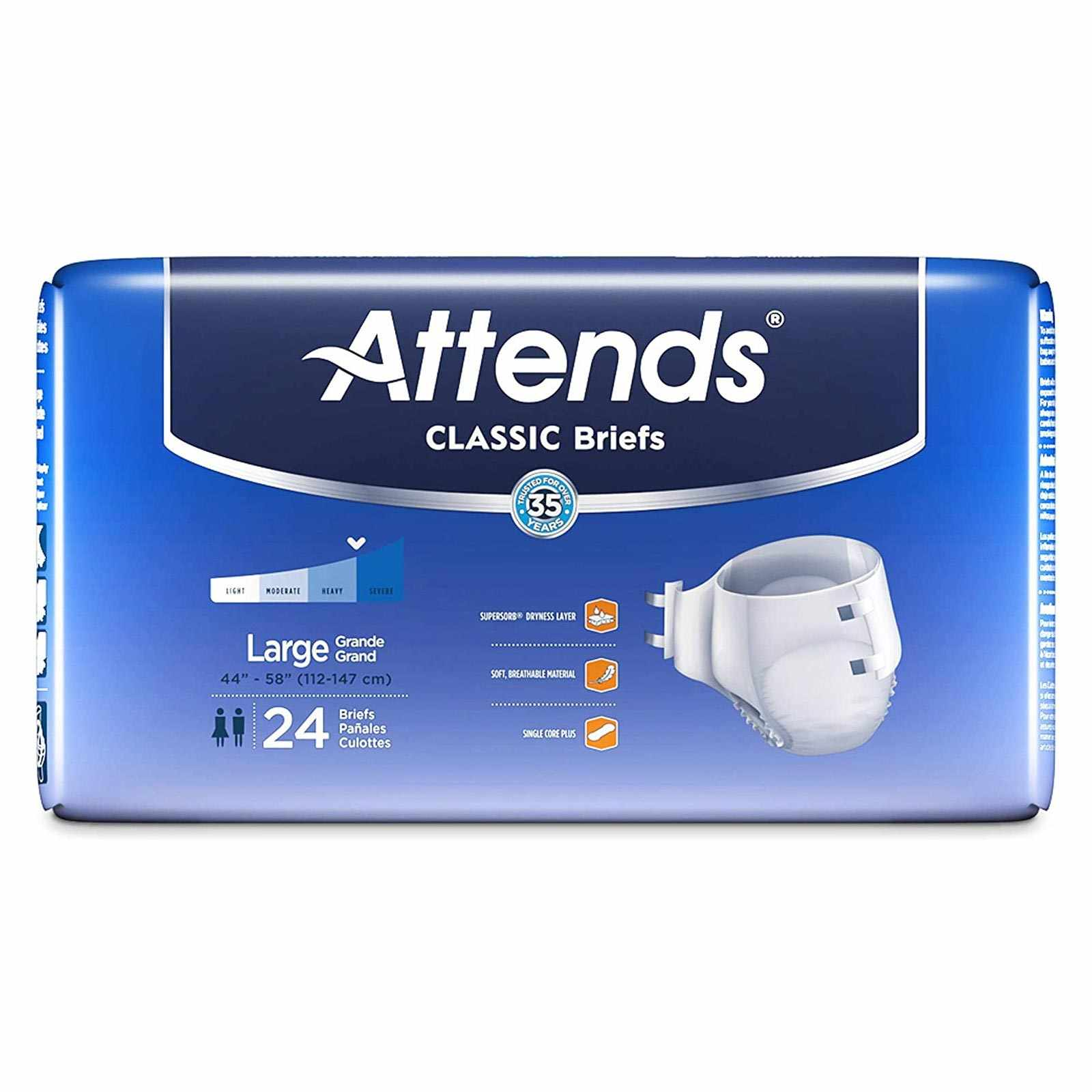 """Attends Heavy Absorbency Adult Incontinent Brief, Large, Tab Closure, 44"""" to 58"""""""