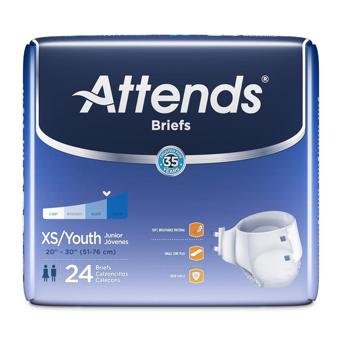 """Attends Extra Absorbent Breathable Briefs, Extra Small/Youth, 20""""- 32"""""""