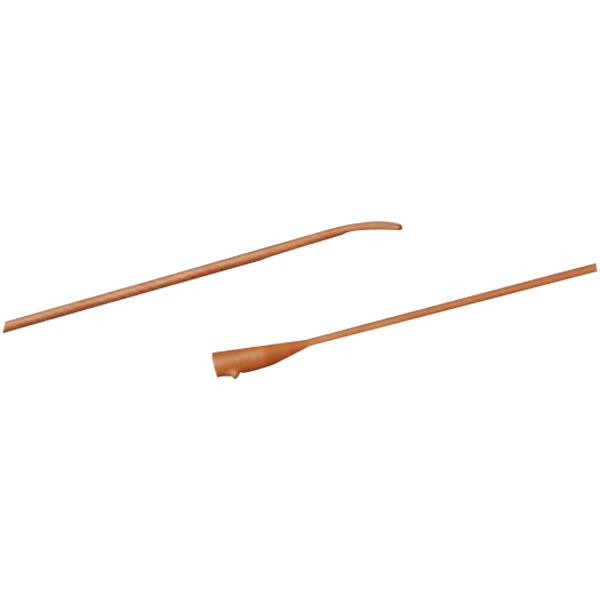 """Bard Tiemann Red Rubber Coude Tip Pediatric Urethral Catheter, Two Eyes, 8Fr, 10"""""""