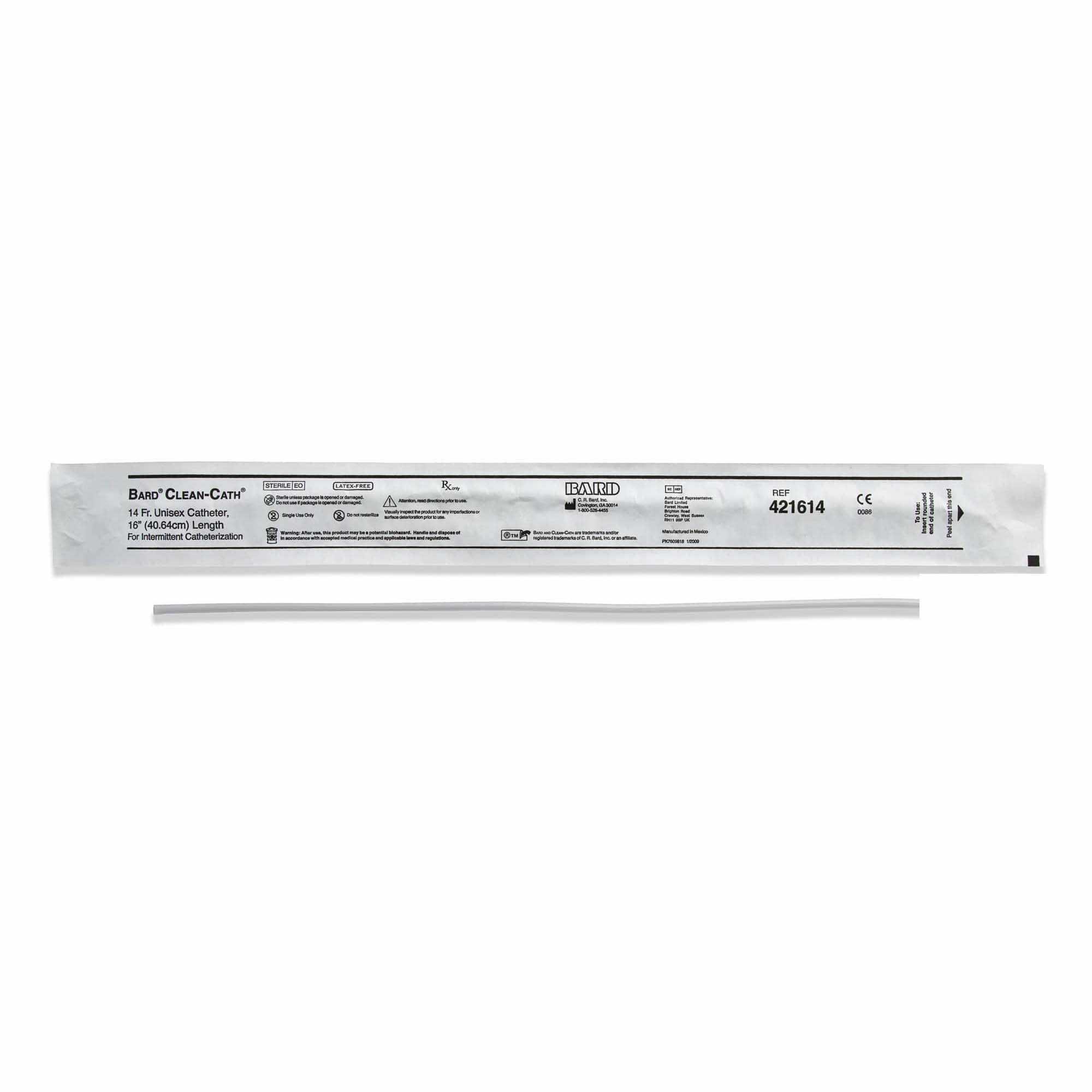 "Bard Clean-Cath Vinyl Unisex Catheter, 14Fr, 16"" L"