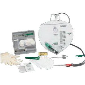 Bardex Lubricath Drainage Bag Foley Tray w/14Fr Bardex 2-Way Foley Catheter, 2000mL Drain Bag