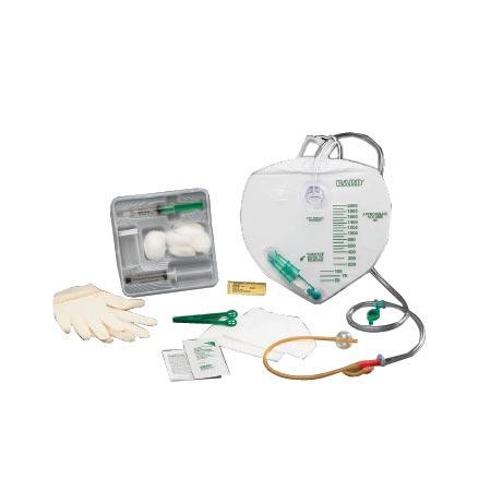 Bardex Lubricath Drainage Bag Foley Tray with 16Fr Bardex 2-Way Foley Catheter