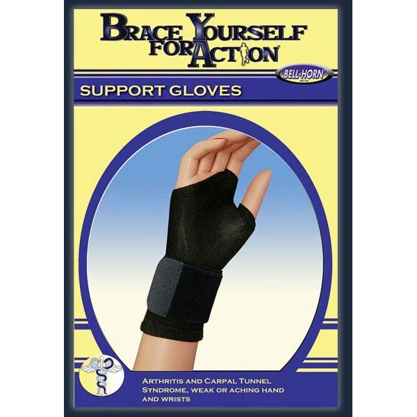 Bell-Horn Fingerless Support Glove, Black Medium