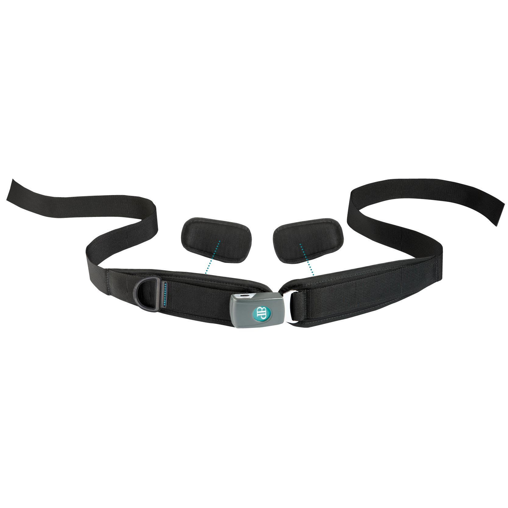 Bodypoint sub-ASIS compatible center-pull two point padded hip belt with push button buckle