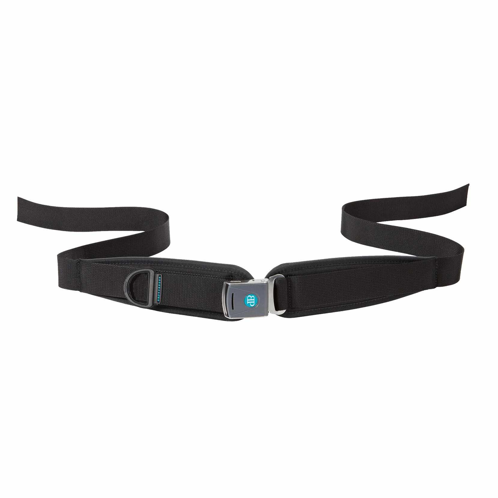 Bodypoint sub-ASIS compatible center-pull two point padded hip belt with rehab latch buckle