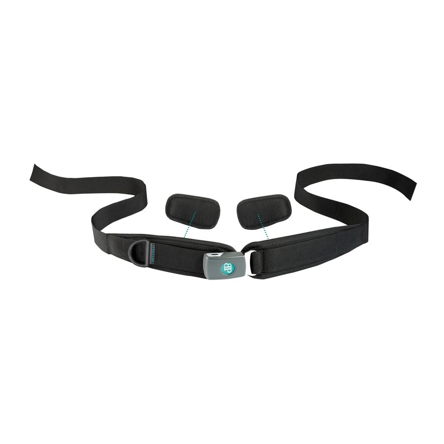 Bodypoint sub-ASIS compatible center-pull four point padded hip belt with push button buckle