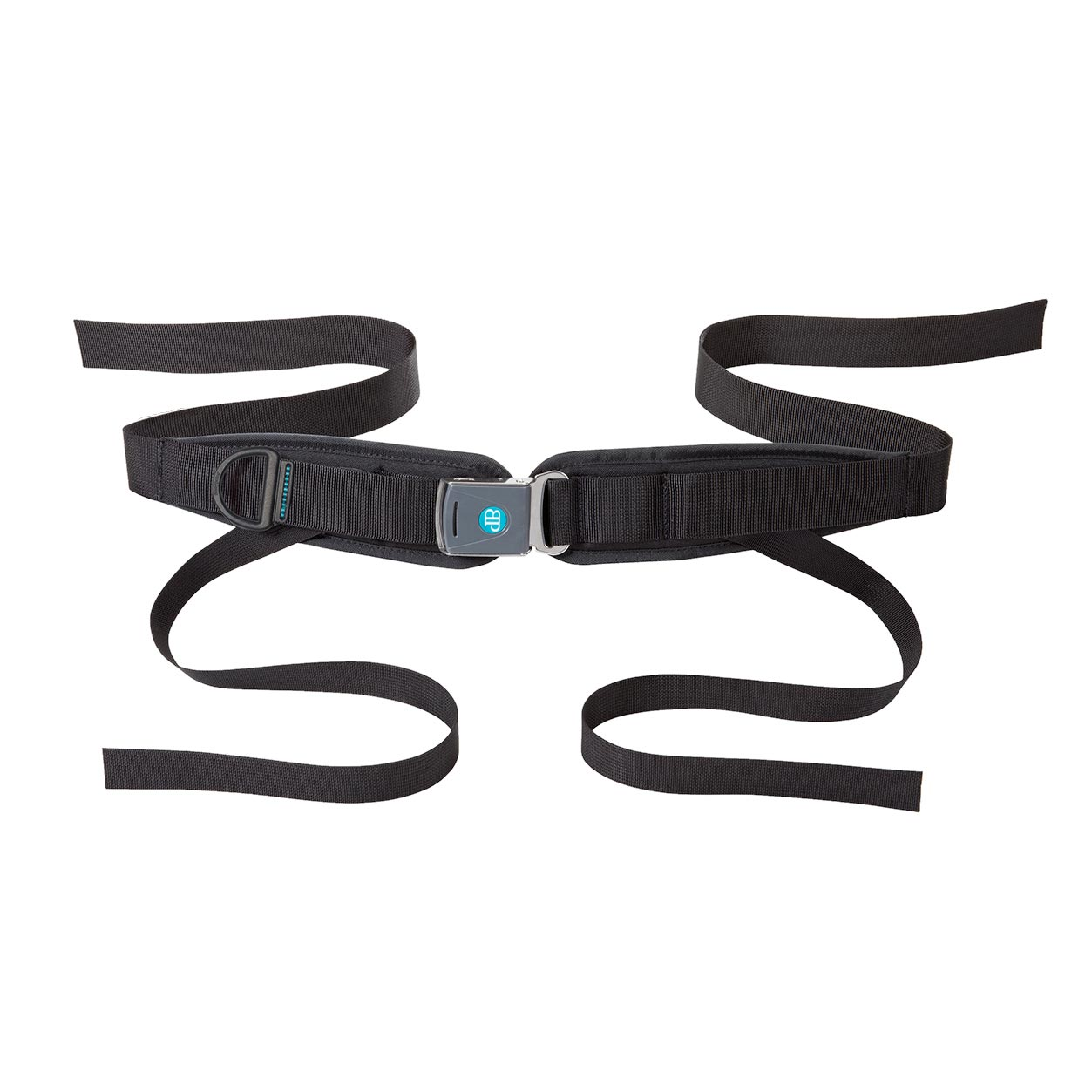 Bodypoint sub-ASIS compatible center-pull four point padded hip belt with Rehab Latch Buckle