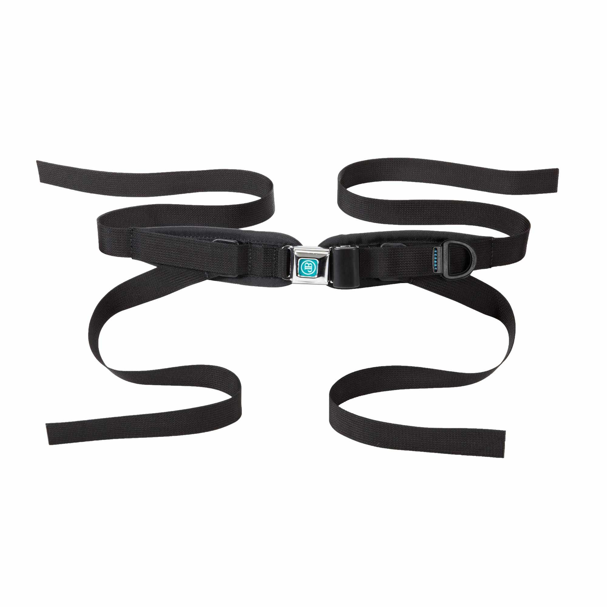 Bodypoint sub-ASIS compatible center-pull four point padded hip belt with metal push button buckle - small