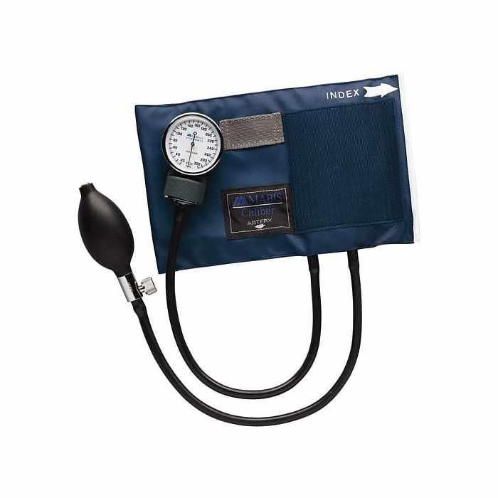 Mabis DMI Adult Caliber Aneroid Sphygmomanometers with Blue Nylon Cuff, Large