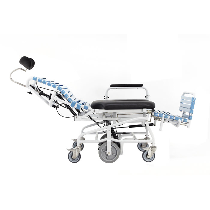 Broda Revive bariatric shower commode chair, adjustable seat tilt