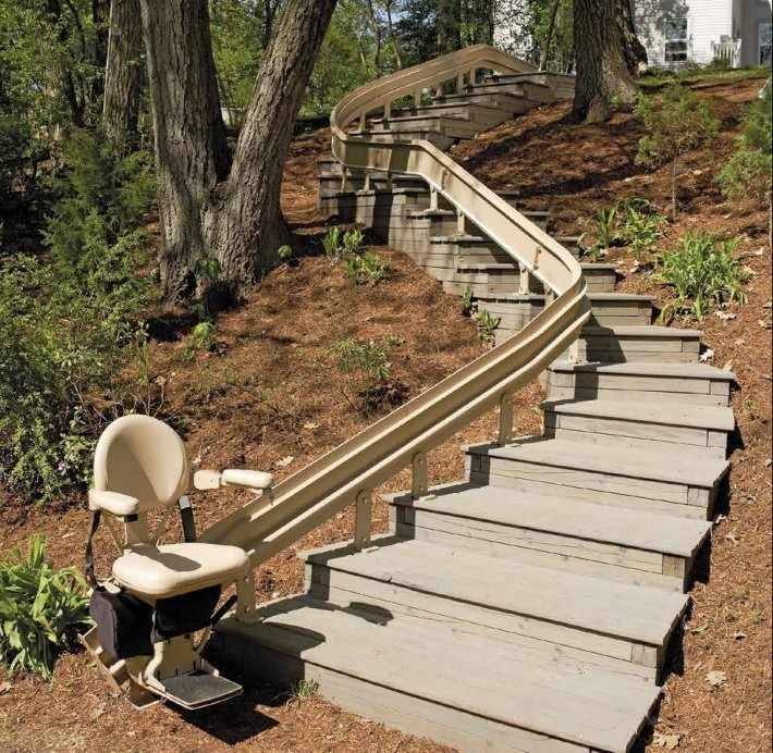 Outdoor Elite curve rail stair lift