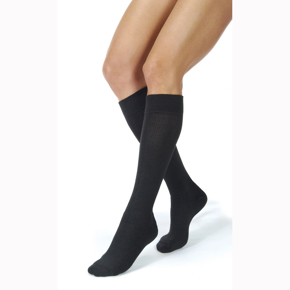 Jobst unisex ActiveWear knee-high 30-40mmHg extra firm socks, closed toe, large, cool black