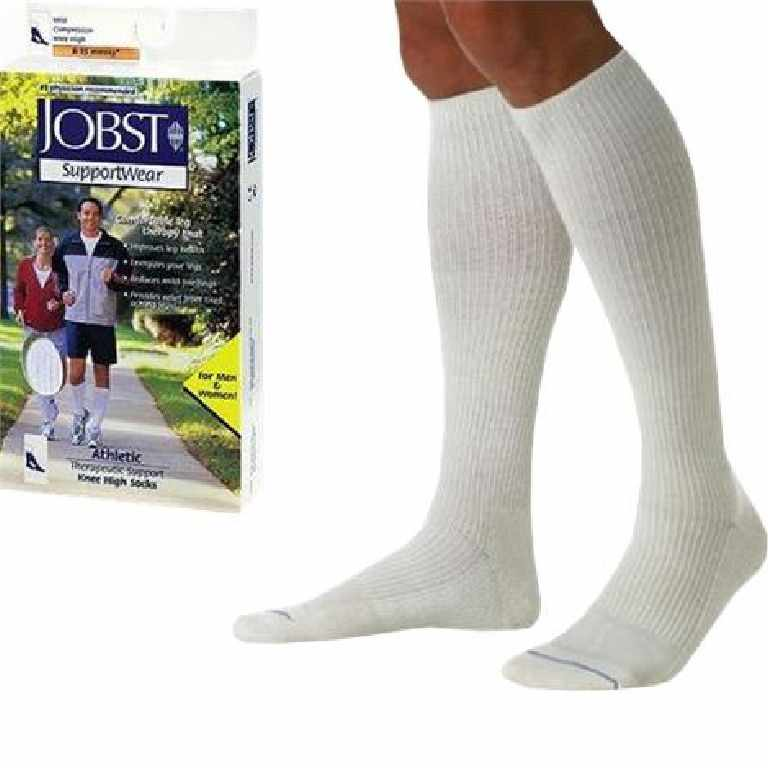 Jobst men's athletic SupportWear knee-high mild compression socks, closed toe, large, white