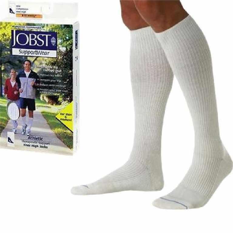 Jobst men's athletic SupportWear knee-high mild compression socks, closed toe, large, white