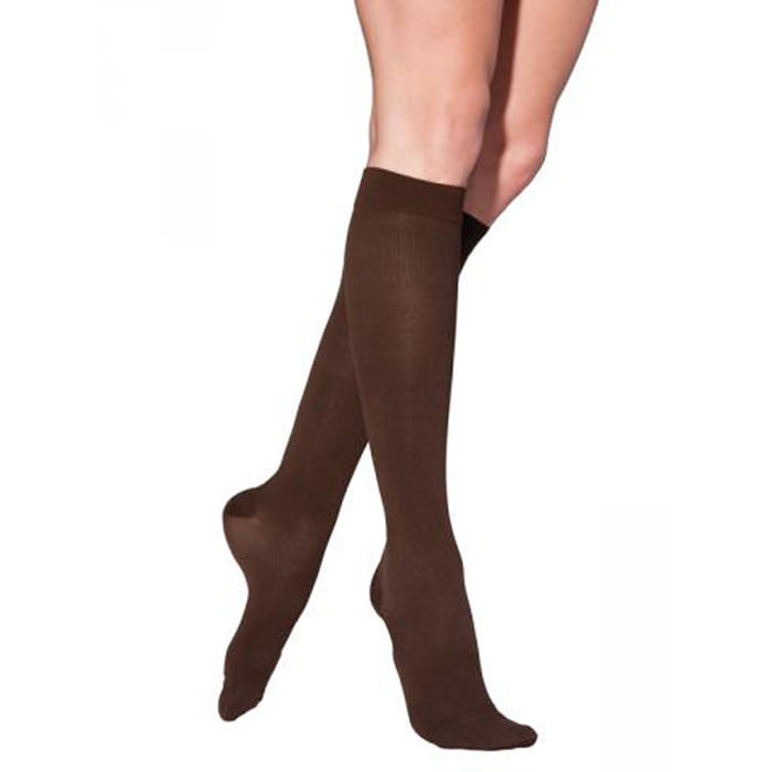 Jobst men's dress SupportWear knee-high compression socks, closed toe, small, brown