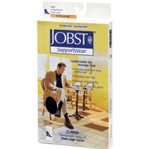 Jobst men's dress SupportWear knee-high compression socks, closed toe, large, brown