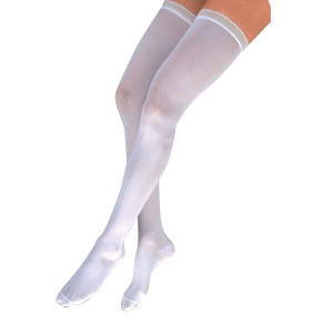Jobst Anti-Embolism/GP Knee-High Seamless Elastic Stockings, Open Toe, Small/Long, White