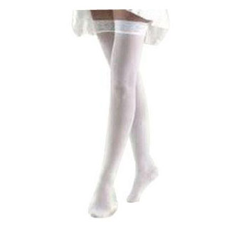 Jobst anti-embolism thigh-high seamless elastic Compression stockings, small short, white
