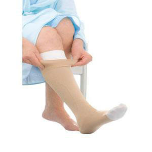 Jobst UlcerCare knee-high compression stockings with liner, medium, beige