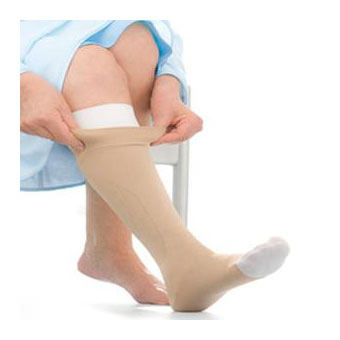 Jobst unisex UlcerCare knee-high Extra firm stocking, with liner open toe, 2X-large, beige